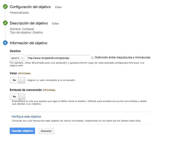 Medir Objetivo de Destino con Google Analytics